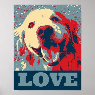 Poster estilizado del amor del golden retriever
