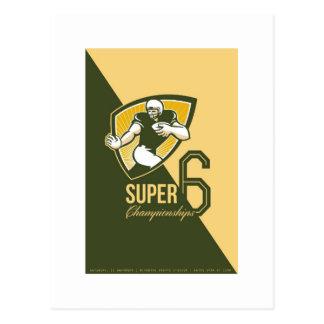 Poster estupendo de 6 campeonatos del fútbol ameri tarjetas postales