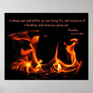 Poster eterno del fuego de Heraclitus