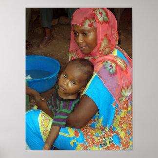 Poster etíope de la madre y del niño
