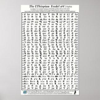 Poster etíope del Amharic del alfabeto de Fidel Fe