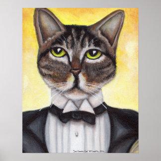 Poster excelente felino del smoking del gato de
