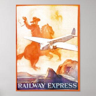 Poster expreso 1935 de la agencia del ferrocarril