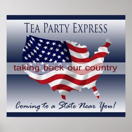 Poster expreso de la fiesta del té póster