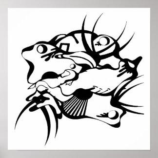 Poster exprimido tatuaje tribal póster
