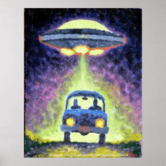 Poster extranjero de la abducción del UFO Póster