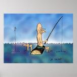 Poster extraño del dibujo animado de la pesca del