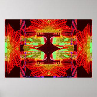 Poster extremo abstracto rojo inusual 15 del diseñ