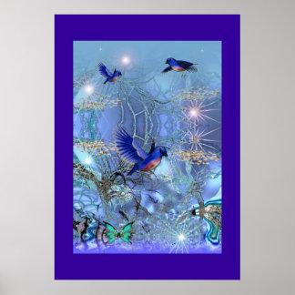 Poster Fantasy Art Blue Birds
