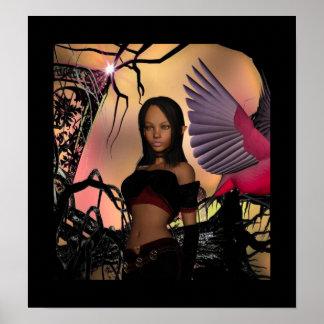Poster Fantasy Art Elf Girl Bird