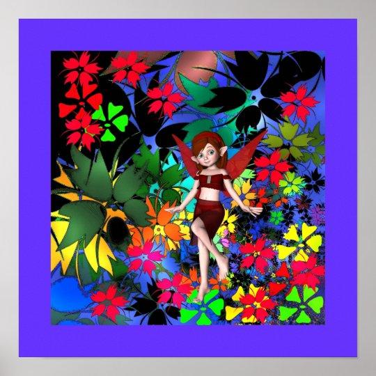 Poster Fantasy Art Pixie Girl Flowers + Purple