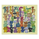 Poster feliz de cincuenta gatos