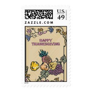 Poster feliz de la acción de gracias del vintage sellos postales