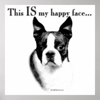 Poster feliz de la cara de Boston Terrier