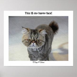 Poster feliz de la cara del gato