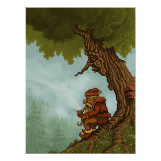 poster feliz de la fantasía del árbol