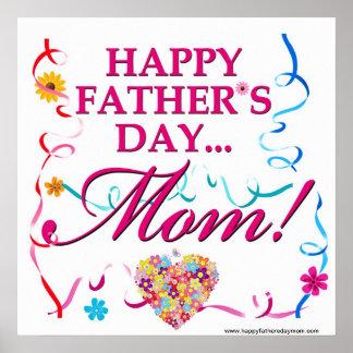Poster feliz de la mamá del día de padres