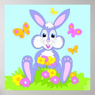 Poster feliz de las flores de mariposa del conejit