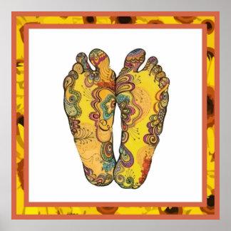 Poster feliz de los pies del hippy de Tappin