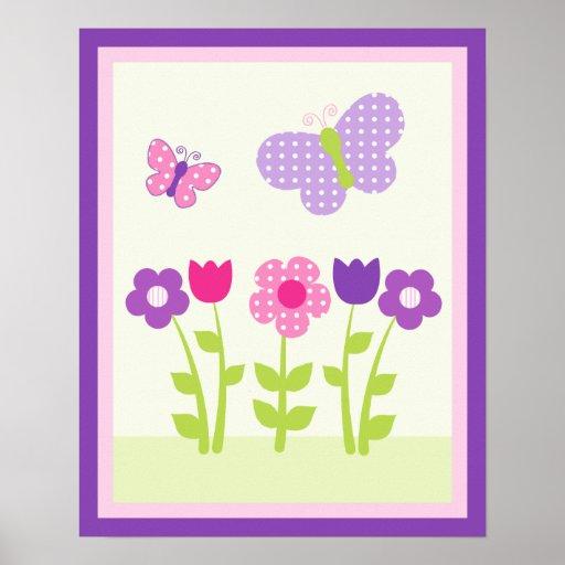 Poster feliz del arte de la flor y de la pared But