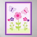 Poster feliz del arte de la pared de la flor y de
