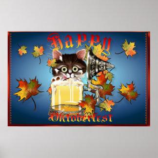 Poster feliz del gatito de la cerveza de Oktoberfe