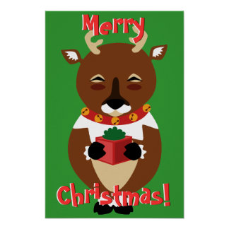 Poster feliz del reno