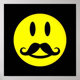 Poster feliz del smiley del bigote