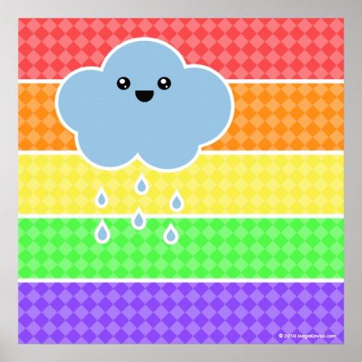 Poster feliz mega del arco iris de la nube de Kawa