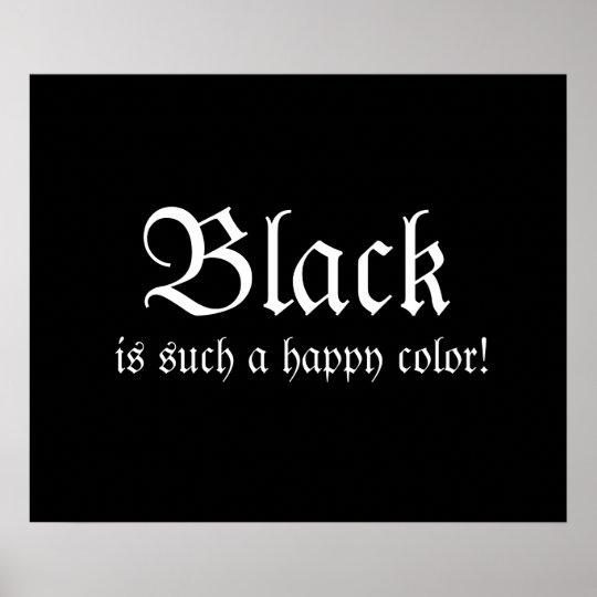 Poster feliz negro de Morticia Addams del color Póster