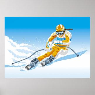 Poster Female Downhill Skier Winter Sport