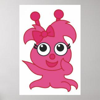 Poster femenino lindo rosado del monstruo