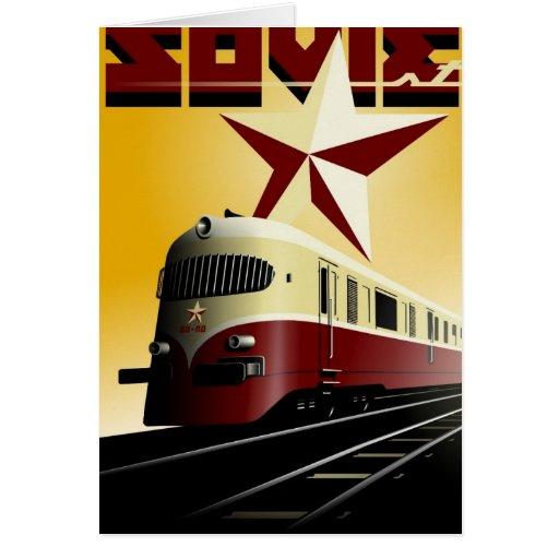 Poster ferroviario comunista del vintage ruso tarjeta de felicitación