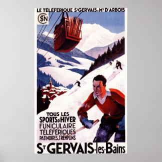 Poster ferroviario del promo del teleférico de la