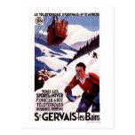 Poster ferroviario del promo del teleférico de la  tarjetas postales