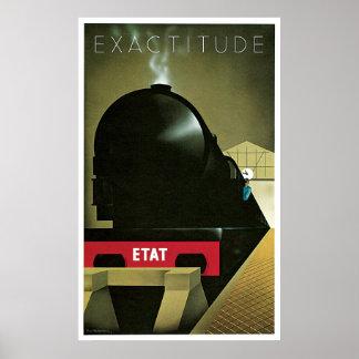 Poster ferroviario francés del vintage de la