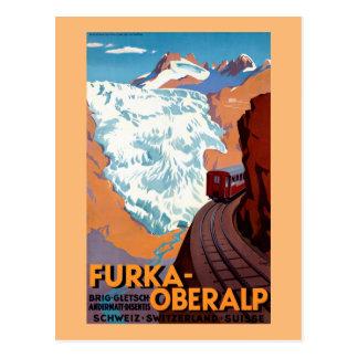 Poster ferroviario suizo del vintage de Furka Postal