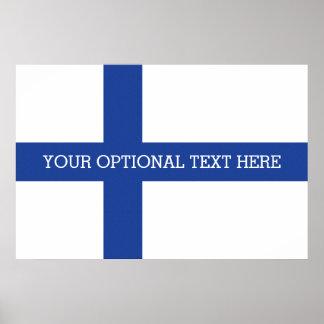 Poster finlandés del personalizado de la bandera
