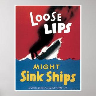Poster flojo de los labios WWII
