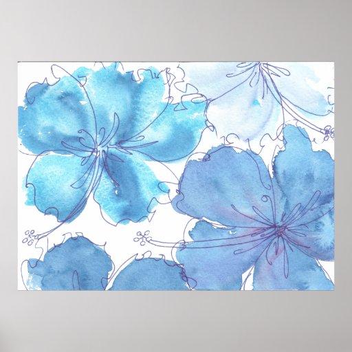 Poster - flor azul del hibisco - acuarela
