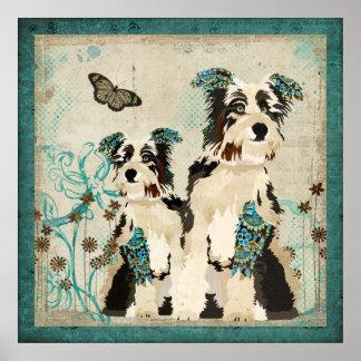 Poster floral azul de los perros del vintage