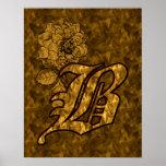 Poster floral B del Peony inicial del oro del mono