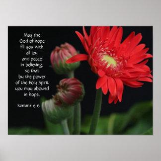 Poster floral con verso de la biblia sobre esperan