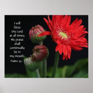 Poster floral con verso de la biblia sobre la fe d