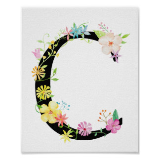 Poster floral de la letra C de la acuarela