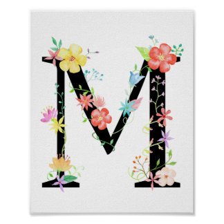 Poster floral de la letra M de la acuarela