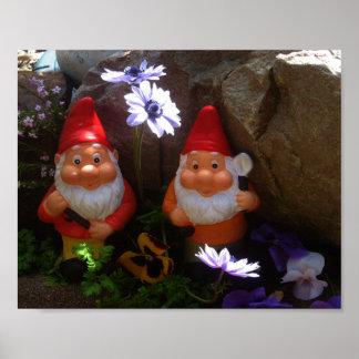 Poster floral de los gnomos gemelos