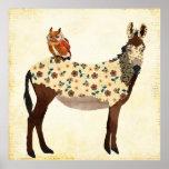 Poster floral del burro y del búho