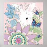Poster floral del conejo