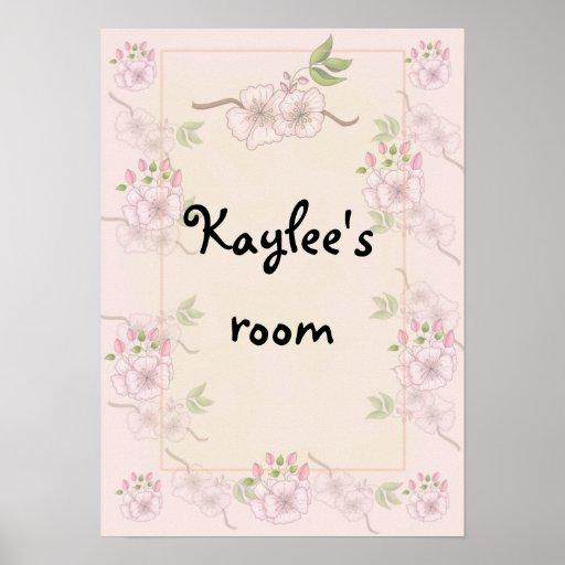 Poster floral del cuarto de niños o del dormitorio